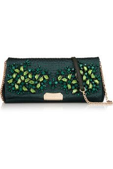 Burberry Shoes & Accessories Crystal-embellished satin shoulder bag | NET-A-PORTER