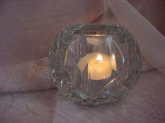 Vintage Homco Crystal Glass Candle Holder for Votive or Tea Lite Round Elegant Seller florasgarden on ebay