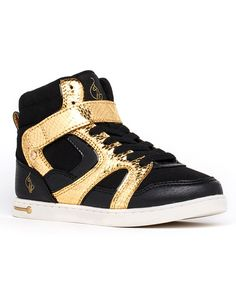 Love this Baby Phat Black & Gold Bella Hi-Top Sneaker - Kids by Baby Phat on #zulily! #zulilyfinds