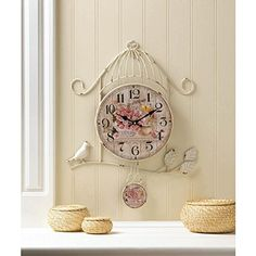 Birdcage Country Rose Wall Clock has a birdcage frame. Face of the clock and pendulum have a scene filled with pink roses, butterflies, and a warm cup of tea. Country Decor, Rustic Decor, Clock Flower, Rose Clock, Shabby Chic Kitchen Decor, French Country Living Room, Southern Living, Trendy Home Decor, Rose Wall