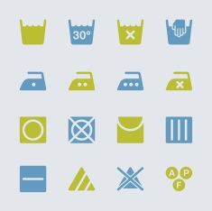 Laundry Sign Icons Set 1 - Color Series | EPS10 vector art illustration