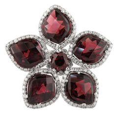 Garnet Diamond Gold Flower Ring | 1stdibs.com