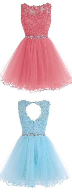 Scoop Short Blue Zipper-up Tulle Homecoming Dress
