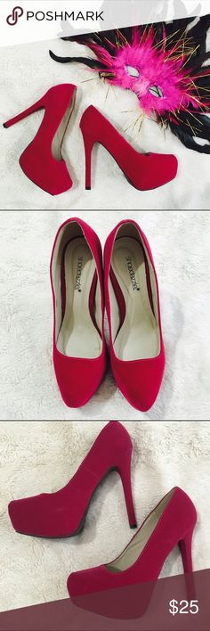 $15 on Ⓜ️- Fuchsia Suede Heels Such a gorgeous color and a great pair of heels! Suede like material with decorative stitching! Last pic shows tiny chip on heel. (Not brand listed) Last photo not actual shoes just to show styling ideas! $15 on Ⓜ️ ASOS Shoes Heels