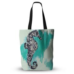 "Sonal Nathwani ""Seahorse"" Green Aqua Everything Tote Bag from KESS InHouse"