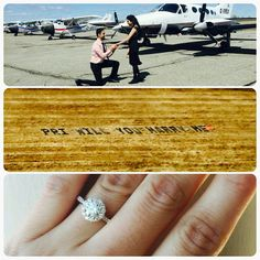 An proposal in flight with the words spelled out on the land. You couldn't get more romantic! Custom diamond ring by Kimberfire. #kimberfire #proposal
