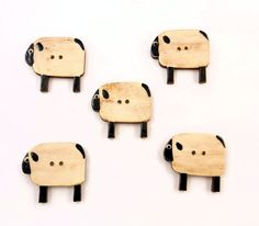 5 Wooden Primitive Sheep Buttons. Hand Painted Wooden Buttons.
