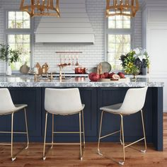 Modern Kitchen Stools We Promise You Will Not Be Disappointed At Farmhouse Style Kitchen, Modern Farmhouse Kitchens, Home Decor Kitchen, Kitchen Furniture, Home Kitchens, Kitchen Ideas, Modern Furniture, Kitchen Interior, Kitchen Designs