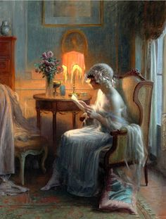 Reading A Letter Artwork By Delphin Enjolras Oil Painting & Art Prints On Canvas For Sale Girl Reading Book, Reading Art, Woman Reading, Munier, Delphine, Letter Art, Beautiful Paintings, Oeuvre D'art, Oil On Canvas