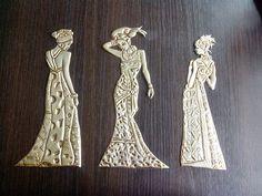 La cajita de las artesanías: Cuadro de mujeres africanas en estaño (en proceso)