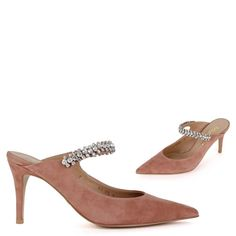 The super lux `Tivoli BEIGE` by MIZCHI Pretty Small Shoes lives up to its promise with a chic mix of bejeweled cross s Suede Heels, Stiletto Heels, High Heels, Shoes Uk, Your Shoes, Wedding Guest Heels, Heeled Mules Sandals, How To Make Shoes, Petite Size