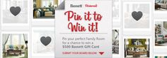 Pin it to Win it!!  Pin your Perfect Family Room for a chance to win a $500 Bassett Furniture gift card!  Visit www.bassettfurniture.com for details on how to enter. #bassettfurniture