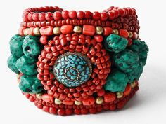 Vintage Red and Turquoise Cuff Bracelet
