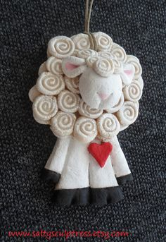 Salty Sculptress - Ewe Look Good in White - Salt Dough Ornament - Old Timey Salt Dough Sculpture Covered in swirly wool and ready to keep your yarns company!