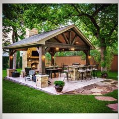 The patio of a house can be settings for many unique things. Whether you have a tiny space or a larger one, you want your outdoor space to be comfortable and nice. Your patio supplies the foundation for your outdoor living space. Backyard Kitchen, Outdoor Kitchen Design, Outdoor Kitchen Plans, Outdoor Cooking Area, Summer Kitchen, Outdoor Grill Area, Outdoor Entertaining, Outdoor Bar Areas, Patio Grill