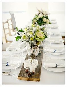love the wood runner!!!!! mix the rustic with elegant floral elements and mercury glass....I like the little bean/seed/ball things...white pumpkins would be cool too