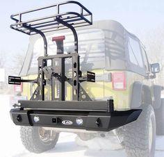Offroad Jeep CJ Xpedition Series Bumper/Tire Carrier w/ Trail Rack & Jerry Can Mounts Jeep Mods, Jeep Tj, Acessórios Jeep Wrangler, Jeep Gear, Jeep Truck, Jeep Wrangler Accessories, Jeep Accessories, Offroad Accessories, Camping Jeep
