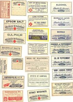miniature printable vintage apothecary & cleaning product labels