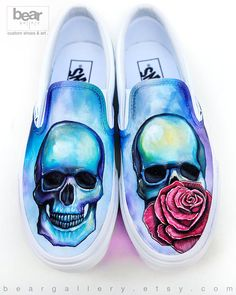 9c5c96bf1a Custom Painted Skull and Rose Vans Shoes- Hand Painted Skull and Flower  Shoes