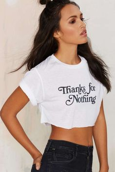 Danielle Guizio Thanks for Nothing Crop Tee - Clothes | Graphics