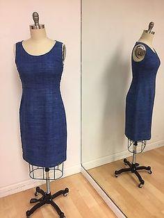 Prada Women's Blue Tweed Sheath Fitted Summer Dress Size 42  | eBay