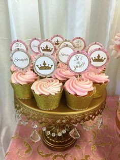 Glittery cupcakes at a pink and gold baby shower party! See more party planning ideas at CatchMyParty.com!