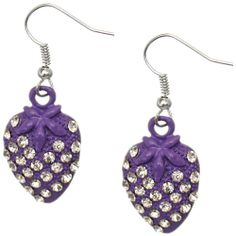 Candy Luxx - Purple Rhinestone Mini Strawberry Dangle Earrings, $5.99 (http://www.candyluxx.com/products/purple-rhinestone-mini-strawberry-dangle-earrings.html)