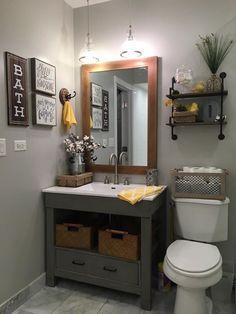 64 inspiring rustic bathroom vanity remodel ideas home decor Bathroom Vanity Makeover, Rustic Bathroom Vanities, Rustic Bathrooms, Grey Bathrooms, Vanity Bathroom, Bathroom Storage, Rustic Vanity, Gray Bathroom Decor, Toilet Storage