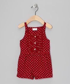 Take a look at this Red Polka Dot Pintuck Romper - Infant, Toddler & Girls by Beebay on #zulily today!