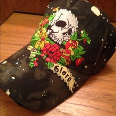 Von Dutch, Ed Hardy black skull hat Death before Glory skull and flower baseball women's hat. L o v e this hat! Ed Hardy Accessories Hats