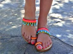 "Boho Sandals ""Flamingo Beach"" / Pom Pom Sandals / Flat Bohemian Sandals / Colorful Neon Sandals / Greek Leather sandals / Womens shoes"
