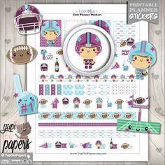 Football Stickers, Planner Stickers for your Erin Condren Vertical Planner, Filofax, KikkiK, any day