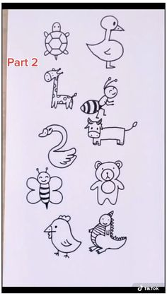 Animal Doodles Using number Part 2 #number #animals #drawing #numberanimalsdrawing Easy Animal Drawings, Easy Doodles Drawings, Easy Doodle Art, Cute Easy Drawings, Cute Cartoon Drawings, Art Drawings For Kids, Simple Doodles, Drawing For Kids, How To Draw Kids
