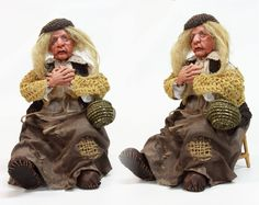 BEGGAR OLD WOMAN ooak art doll, polymer clay sculpture, home decor, grandma senior old lady handmade doll, by LalkowniaDolls on Etsy