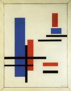 Composition blue, red, black and white by Marlow Moss