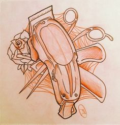 Clipper scissor tattoo Hairdresser Tattoos, Hairstylist Tattoos, Hair Tattoos, Love Tattoos, Beautiful Tattoos, Desenho New School, Scissors Tattoo, Barber Tattoo, Traditional Tattoo Old School