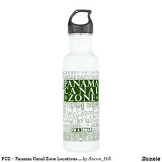 PCZ – Panama Canal Zone Locations with Map / Green Stainless Steel Water Bottle
