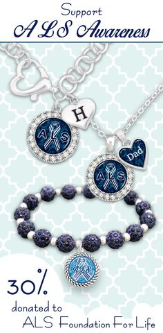 ALS - Lou Gehrig's Disease Awareness jewelry with custom initials and loved ones - $9.98. Charming Collectables donates 30% of all net profits to the ALS Foundation for Life! Support your loved ones and the cause.