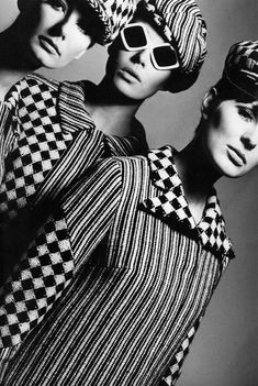 Coordinating tweed suits by Maurice Attwood for Reldan-Digby Morton. Photo Norman Eales at Vogue Studio, London, April 1966