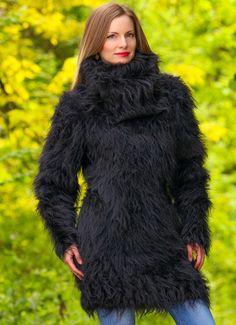 SUPERTANYA BLACK Hand Knitted Mohair Sweater Fuzzy LONG Turtleneck Dress ON SALE | eBay