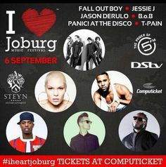 About The Festival  The innaugural, annualI Heart Joburg Music Festivalis an uninterrupted 12 hour musical explosion dedicated to the beautiful city of Johannesburg. The festival promises the biggest entertainment line-up to hit the shores of Southern Africa. Festival goers can expect an eclectic mix of 6 local and 6 international superstars across various genres.  The incredible line-up consists of some of the biggest names on the international scene including Grammy awards winners, MTV… Th 5, Jessie J, Jason Derulo, 6 Music, Fall Out Boy, Local Artists, Electronic Music, Music Awards, Mtv