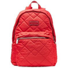Marc by Marc Jacobs Quilted Nylon Backpack ($155) ❤ liked on Polyvore featuring bags, backpacks, purses, accessories, bolsas, red, print backpacks, travel bag, day pack backpack and travel rucksack