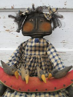 Primitive Grungy Folk Art Wanda and Her by OldeAtticPrims on Etsy