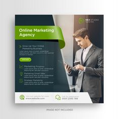 Social Media Banner, Social Media Template, Social Media Design, Online Marketing Agency, Business Marketing, Instagram Square, Instagram Posts, Instagram Post Template, Web Banner