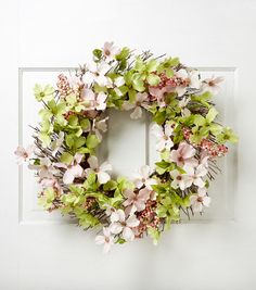 Blooming Spring 22'' Dogwood Berry Wreath-Pink & Green