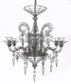 Biju Grand French Wire Chandelier - Pewter L - 110 H x 100 diameter XL - 135 H x 125 diameter Lustre Baroque, Lustre Metal, Wire Chandelier, Deco Luminaire, Luminaire Design, Gun Decor, Contemporary Home Decor, Elegant Homes, Ideas