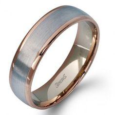 Simon G Men's Wedding Band, change rose gold part to black or white gold