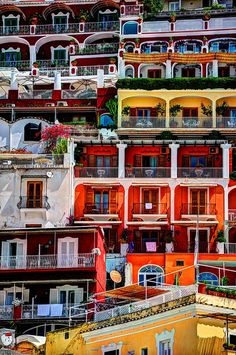 Positano, Italy - The bright colors make this urban scene very interesting!