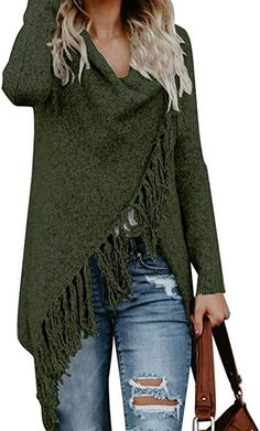 CEASIKERY Women s Tassel Hem Sweater Long Cardigan Knitwer Pullover Poncho  Coat at Amazon Women s Clothing store  048d7489d