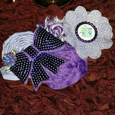 Flower clustered headband 'My attitude may be big but my bow is bigger'  Beautiful Childs flower headband..   Handmade Shades of purple Never worn Sequins, burlap, rosettes, shabbies and bow Accessories Hair Accessories